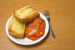 Lasagna and Garlic Bread Stock Images