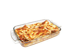 Lasagna. In glass dish Stock Images