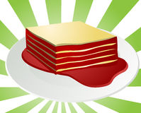 Lasagna illustration. Illustration of a helping of lasagna on a plate with gravy Royalty Free Stock Photo