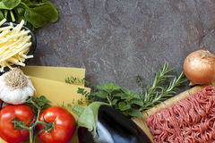 Lasagna Ingredients Food Background Stock Images