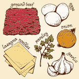 Lasagna ingredients hand drawn set Stock Photography
