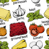 Lasagna ingredients pattern Royalty Free Stock Photo
