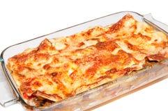 Lasagna isolated. Lasagna in rectangular pan  isolated Stock Photos