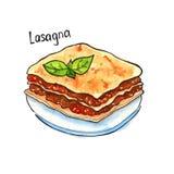 lasagna Italiaanse keuken Geïsoleerde watercolor Royalty-vrije Stock Afbeelding