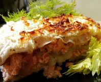 Lasagna. Meat cheese food Stock Photo
