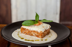 Lasagna with meat and spinach. Stock Images