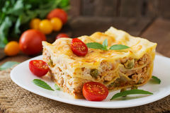 Lasagna with minced meat, green peas Stock Photography