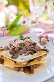 Lasagna with mushroom at a Restaurant Royalty Free Stock Photos