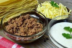 Lasagna pasta, minced meat, bechamel and cheese Stock Photography