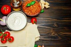 Lasagna pasta sheets, bolognese and bechamel sauce Royalty Free Stock Photo