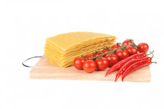 Lasagna pasta tomato and red peppers Royalty Free Stock Photography