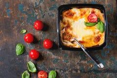 Lasagna in plastic box Stock Photo