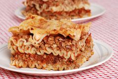 Lasagna on a plate Stock Photos