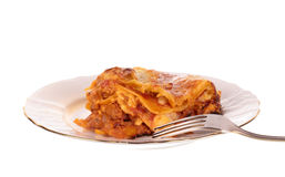 Lasagna in plate Royalty Free Stock Photo