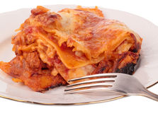 Lasagna in plate Royalty Free Stock Images
