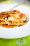 Lasagna portion Royalty Free Stock Photo