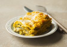 Lasagna with pumpkin, spinach and turkey meat on brown backgroun Stock Photography
