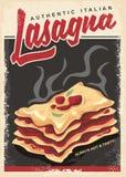 Lasagna retro promo poster design template Stock Image