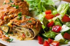 Lasagna Rolls del vegano Fotografía de archivo