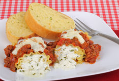 Lasagna Rollups Dinner Royalty Free Stock Photography