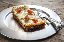 Lasagna's op de metaalplaat Stock Foto