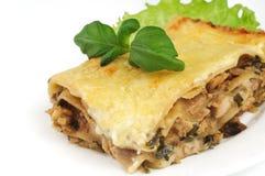 Lasagna's op witte plaat Stock Foto