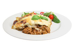 Lasagna and Salad Stock Image