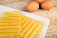 Lasagna sheets and eggs Royalty Free Stock Image