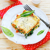 Lasagna with spinach and mushroom stuffing Royalty Free Stock Photography