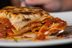 Lasagna on a square white plate Stock Image