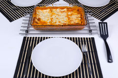 Lasagna on the table Royalty Free Stock Photos