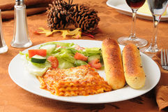 Lasagna on a Thanksgiving dinner table Royalty Free Stock Photos