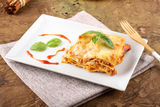 Lasagna with tomato and bechamel sauce Stock Images