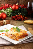 Lasagna with tomato and bechamel sauce. On complex background Stock Photography