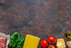 Lasagna, tomatoes, minced meat and other ingredients. Dark background. Italian cuisine stock image