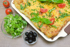 Lasagna, tomatoes, olives and salad Friese Royalty Free Stock Images