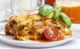 Lasagna, traditional italian dish Stock Photos