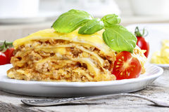 Lasagna, traditional italian dish Stock Photos