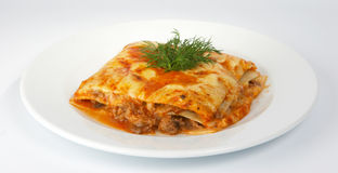 Lasagna with veal. Lasagna with veal and greens Stock Photos