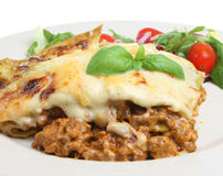 Lasagna Verdi with Salad Royalty Free Stock Photo