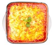 Lasagna w kulinarnym szklanym garnku Obrazy Royalty Free