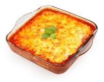 Lasagna w kulinarnym szklanym garnku Fotografia Royalty Free
