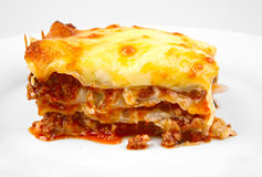 lasagna on white