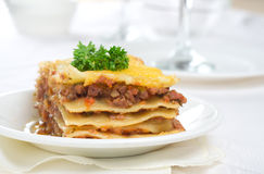Lasagna. On a white plate Stock Photo