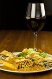 Lasagna and Wine Royalty Free Stock Photos