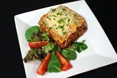 Lasagna y ensalada 1 fotografía de archivo libre de regalías