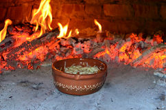 Lasagnas. Lasagne in brown, clay bowl, getting ready in hot pizza oven Stock Photo