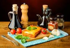 Lasagne και συστατικά Στοκ Εικόνα