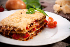 Lasagne al forno Immagini Stock Libere da Diritti