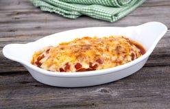 Lasagne al forno casalinghe della pasta Immagini Stock Libere da Diritti